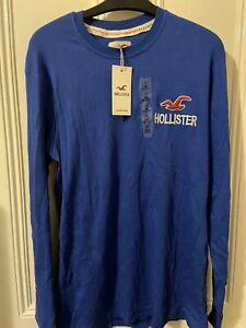 Mens Hollister t Shirt Blue Size XXL Long Sleeve Brand New