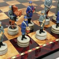 "US American Civil War Generals Painted Chess Set W/ 18"" Cherry Color Board"