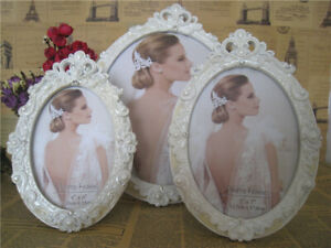 6x4 Inch White Oval Vintage Style Flowers Floral Freestanding Photo Frame