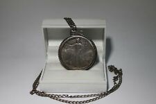 .925 Sterling Silver Necklace w/ 1oz Fine Silver Liberty Dollar 1992