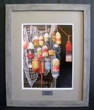 Lobster Trap Painted Buoys Nets Framed Signed Ltd Ed Art Print  - Painting by JG
