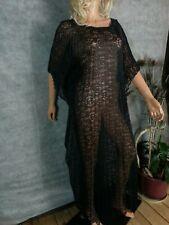 Vtg 70s Fitted MUMU Caftan Maxi Long Dress CoverUp Black Lace See Thru Boho S/M
