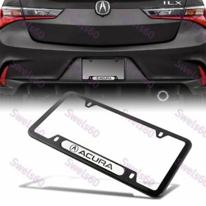 1PCS For ACURA Black WH Metal Stainless Steel License Plate Frame MDX RDX TSX TL