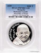 2020 Mongolia 1000 Togrog Mahatma Gandhi 1 oz Silver Proof Coin - PCGS PR70 FDI