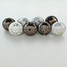 G Decor Set of 8 black and white Ceramic Door Knobs Vintage Shabby Chic Cupboard