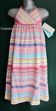 New MONSOON Age 3-4 Pink White Stripe SHIRLEY Halterneck Long Party Maxi Dress