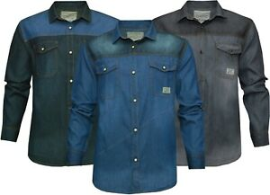 Mens Denim Shirts 100%Cotton Contrast Snap Button Long Sleeve with Pockets S-2XL