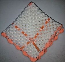 "LOVELY HAND CROCHET BABY DOLL BLANKET:WHITE & GLITTER PEACH - RIBBONED 18"" x 18"""
