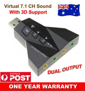 USB to Dual 3.5mm Audio Mic External SoundCard Adapter Virtual 7.1 Channel 3D AU