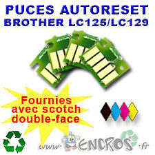 RECHARGEABLE Lot de 4 Puces Auto-Reset BROTHER COULEURS+NOIR LC125/129