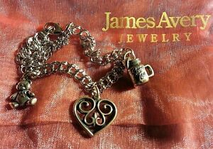 James Avery Double Curb Sterling Silver Charm Bracelet & 3 Charms, Retired Heart