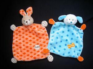 ★ Kik Ergee Auswahl Schmusetuch Schnuffeltuch Hase Orange oder Hund Blau Sterne★