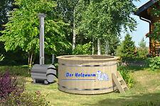 Badebottich inklusive Außenofen Badefass Badebecken Wellnessbottich Holz Fass