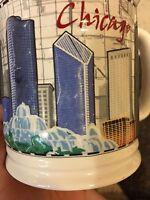 CHICAGO Mug Coffee Cup Skyline Navy Pier Ceramic 3-D Raised Illinois Map EUC