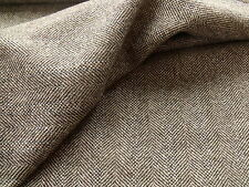 100% Pure New Wool Herringbone/Hopsack Weave Tweed Fabric 2.2 metre