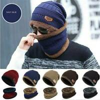 2-Pieces Women Men Winter Beanie Hat+Scarf Set Warm Knit Thick Fleece Lined Cap
