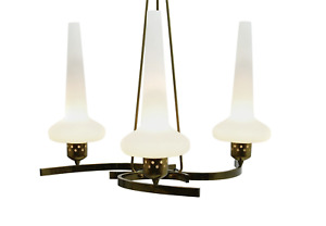 Italian Glass and Brass Pendant 1950s Lampe Lamp 50s Italy