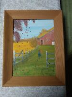 Original Painting Vintage Folk Art Oil or Acrylic Primitive Landscape Signed 69