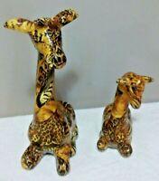 2 Patchwork Giraffe 11 Inch Figurines African Home Decor