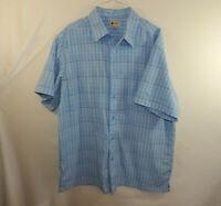 Haggar Mens Short Sleeve Button Front Dress Shirt Blue Plaid Size LARGE L