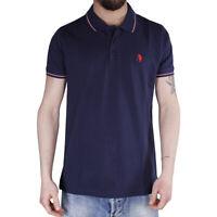 Polo Uomo Sport Cotone Colletto Righe Maniche Corte 3 Bottoni T-Shirt Blu SARANI