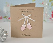 Personalised Baby's First Christmas Card mittens GIRL daughter granddaughter