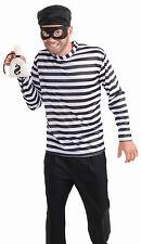 Men's Burglar Costume Classic Black & White Masked Bandit Adult Size Standard