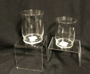Set Of 2 Libbey Small Clear Glass Hurricane Pillar Candle Holders 4 Inch Tall