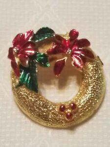 Brooch Pin - Christmas Wreath - Poinsettias - Green & Red - Enamel - Gold Tone