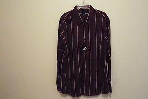 J. FERRAR MEN'S DRESS SHIRT NWT 2XL BIG 18 34/35 BURGANDY