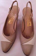 Ferragamo AUTH. women's taupe/beige 2-tone sling back heels Size 8AA(RUNS 7AA)