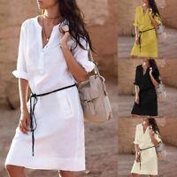 Summer Dress Women White Elbow Sleeves with Belt T-shirt Dress HC