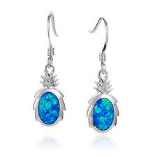 Hawaiian Sterling Silver Pineapple With Blue Opal Hook Wire Earrings