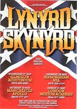 """LYNYRD SKYNYRD 2009 Tour UK FLYER / mini Poster 8x6"""""""