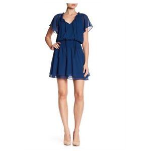 BCBGeneration Bohemian Dress Blue Ruffle Mini Women Size XS