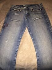Anoname Sz 28 Distressed Jeans Bling Butterfly Worn ONCE EUC
