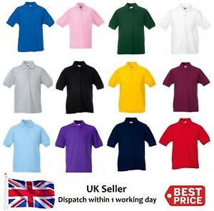 Kids Polo Shirt Children Top Boys Girls Childs Plain School Uniform T-Shirt New