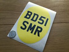 Decal: Yellow Pre65 Oval Classic trials twin shock number plate license 18 x 13