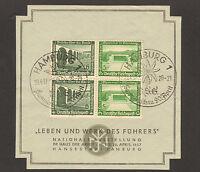 """RARE 1937 STAMP GERMANY """"Leben und Werk des Führers"""" SST Hamburg 20.4.37"""