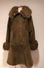 MUFLONUL SRL GENUINE SHEARLING FUR COAT OLIVE GREEN SIZE 46