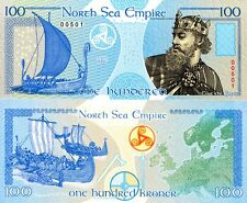 NEW ISSUE- NORTH SEA EMPIRE VIKING 100 KRONOR POLYMER FANTASY ART BANKNOTE 2018!