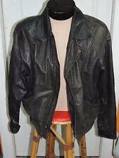 Large Bermans Leather Jacket Lined 1986 Charcoal Vintage Bomber Flight HEAVY