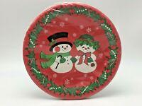 Ambassador Vintage Christmas Paper Plates Snowman Snow Woman Dessert Appetizer