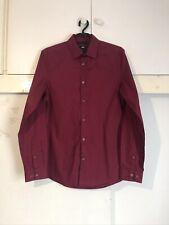 New Stylish H&M Mens Smart/Casual Slim EasyIron Shirt Burgundy Small Poly/Cot
