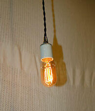 Radio Style Light Bulb, Tubular Smoked Amber Glass Vintage Edison Repro. 30 Watt