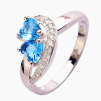 Women Heart Blue White Gemstone Fashion Jewelry Silver Ring Size 6 7 8 9