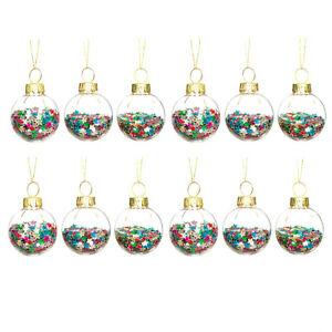 Mini Disco Christmas Stars Baubles - Set of 12 Hanging Xmas Tree Ornaments