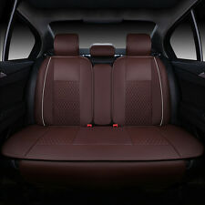 Coffee PU Leather Universal Car Interior Seat Cover Mat Chair Cushion 5 Seat SGU