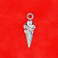 10 x tibétain argent ice cream corn charme pendentif fabrication de bijoux