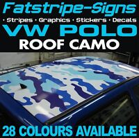 VW POLO CAMO ROOF GRAPHICS STICKERS STRIPES DECALS VOLKSWAGEN GTI 1.4 1.6 GT